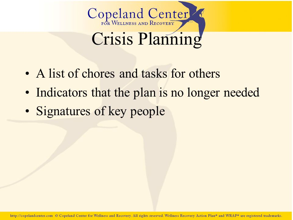 Crisis Planning A list of chores and tasks for others