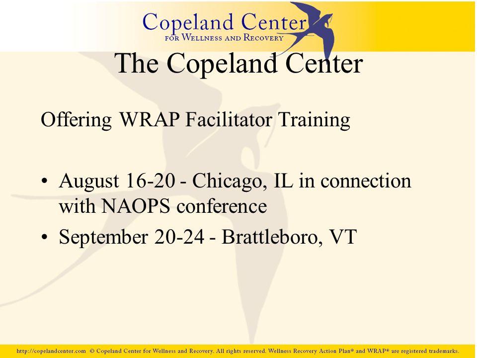 The Copeland Center Offering WRAP Facilitator Training