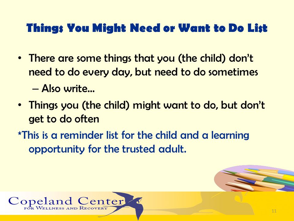 Things You Might Need or Want to Do List