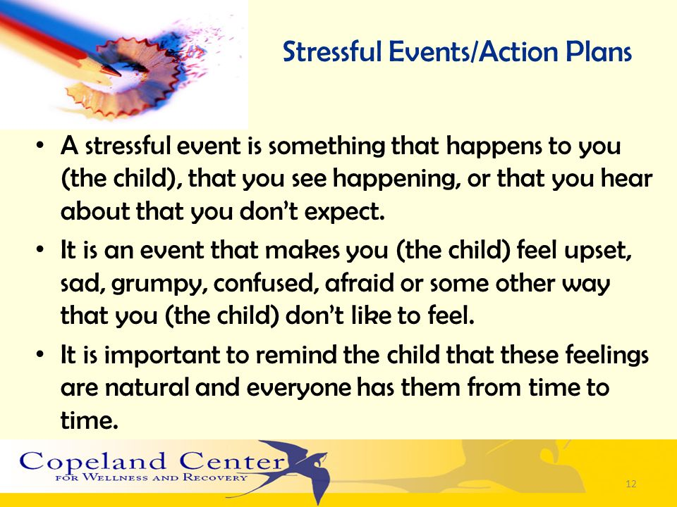 Stressful Events/Action Plans