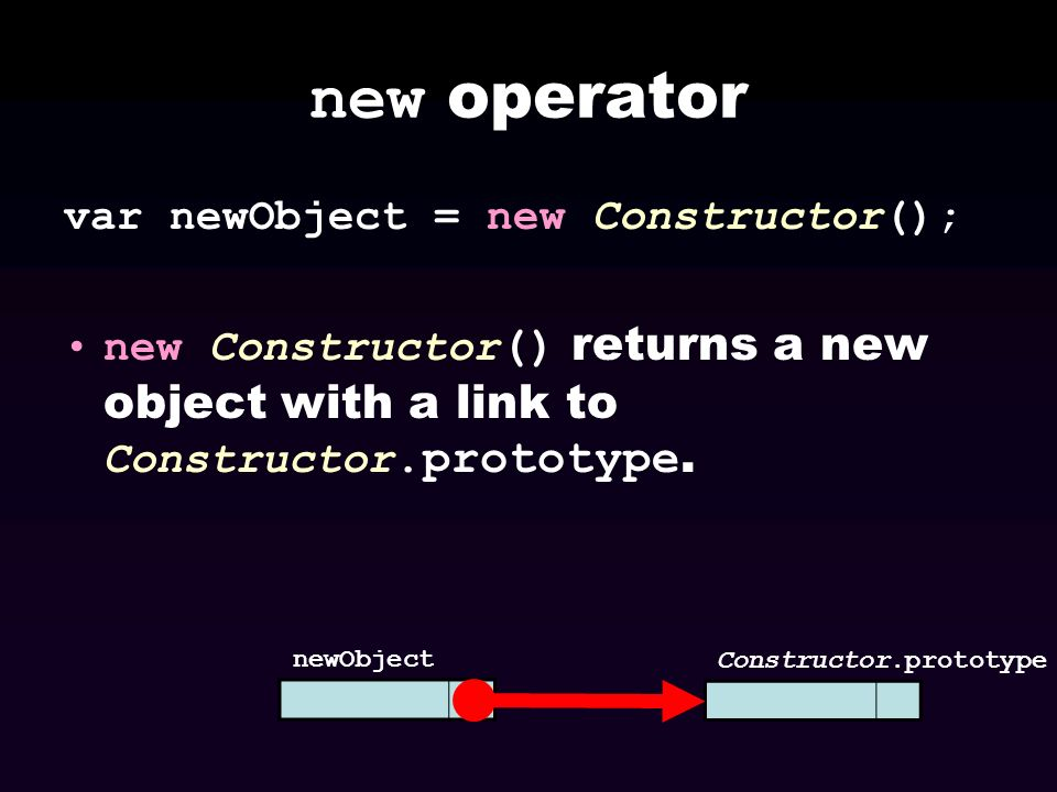new operator var newObject = new Constructor();