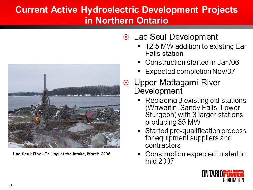 Current Active Hydroelectric Development Projects in Northern Ontario