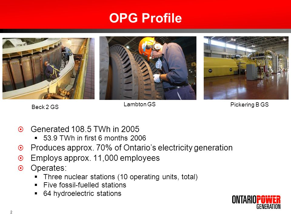 OPG Profile Generated 108.5 TWh in 2005