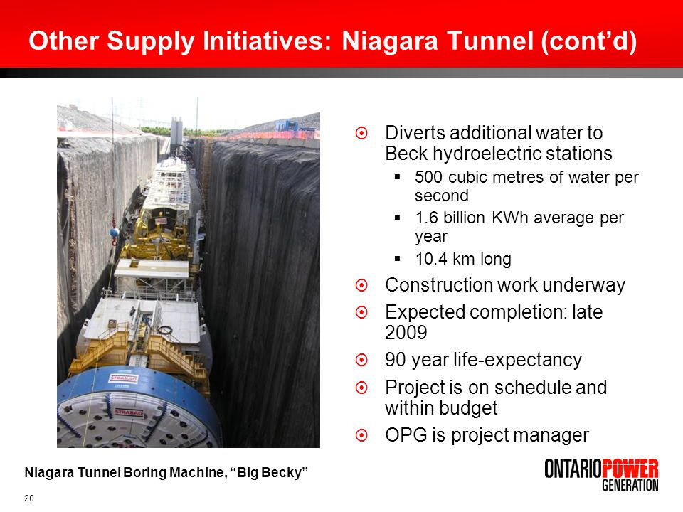 Other Supply Initiatives: Niagara Tunnel (cont'd)