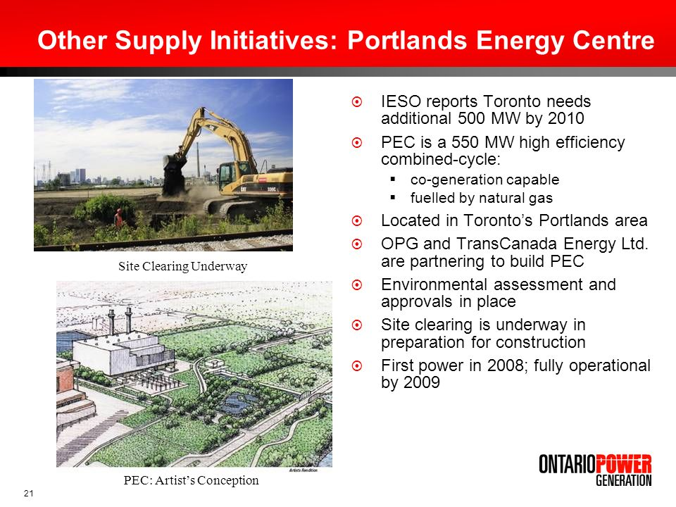 Other Supply Initiatives: Portlands Energy Centre