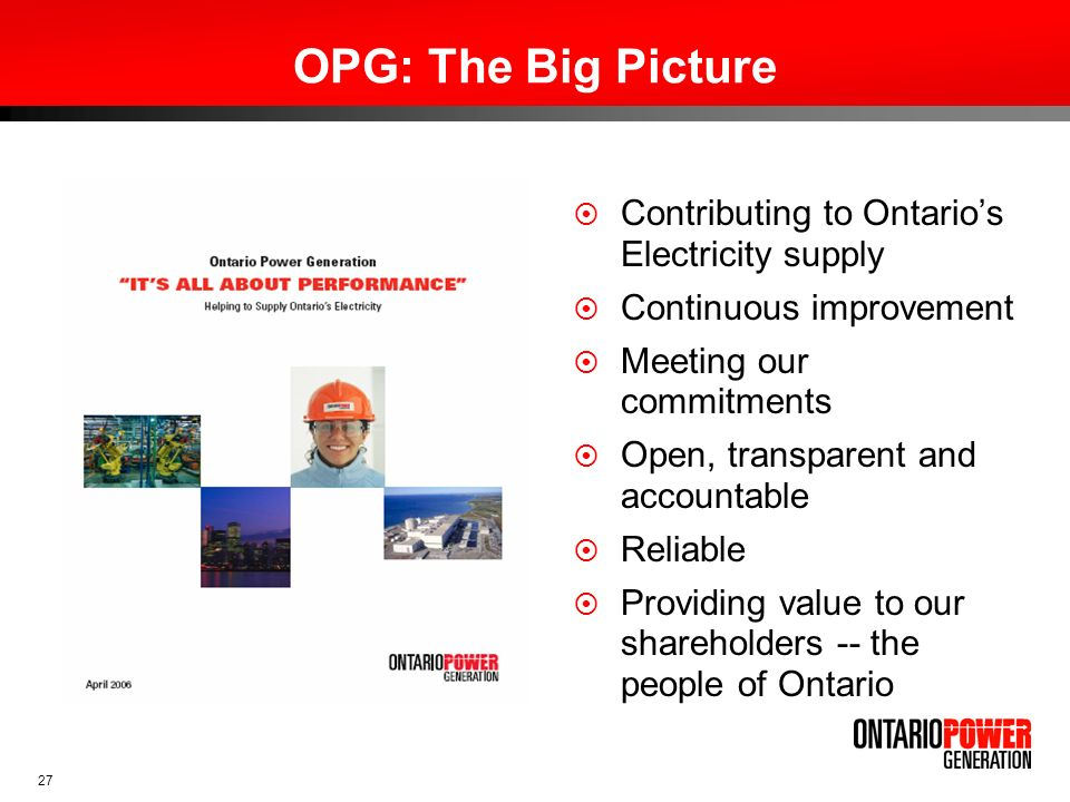 OPG: The Big Picture Contributing to Ontario's Electricity supply