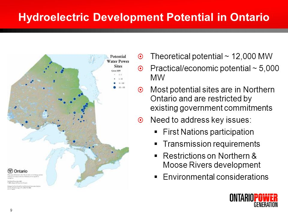 Hydroelectric Development Potential in Ontario