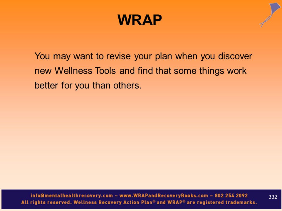 WRAPYou may want to revise your plan when you discover new Wellness Tools and find that some things work better for you than others.