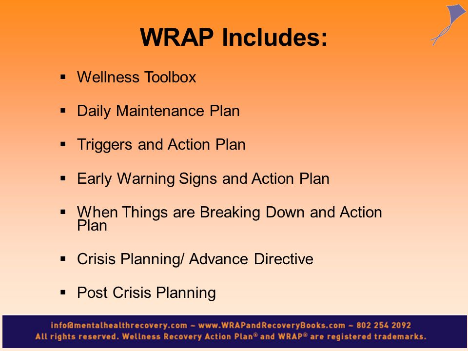 WRAP Includes: Wellness Toolbox Daily Maintenance Plan