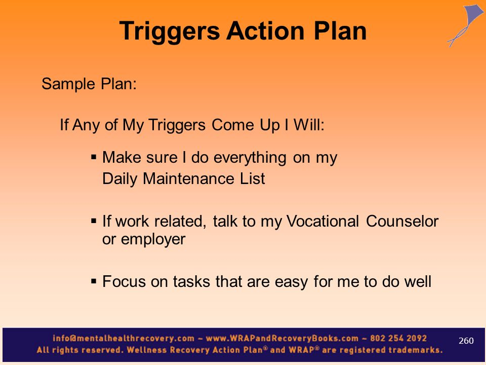 Triggers Action Plan Sample Plan: