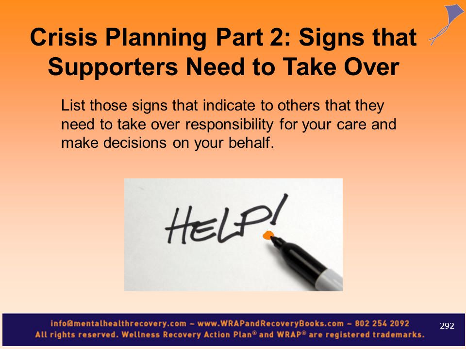 Crisis Planning Part 2: Signs that Supporters Need to Take Over