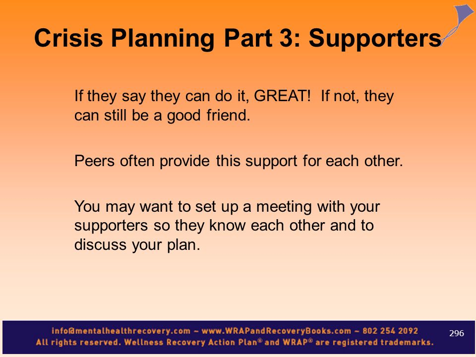 Crisis Planning Part 3: Supporters