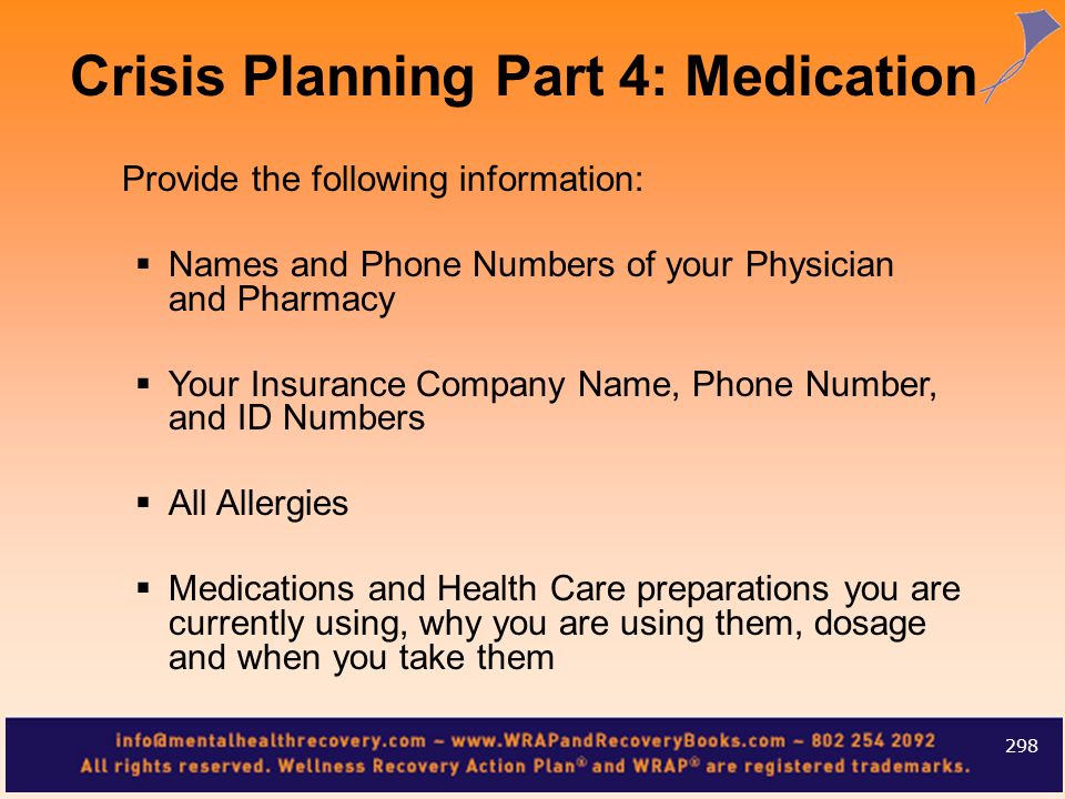 Crisis Planning Part 4: Medication