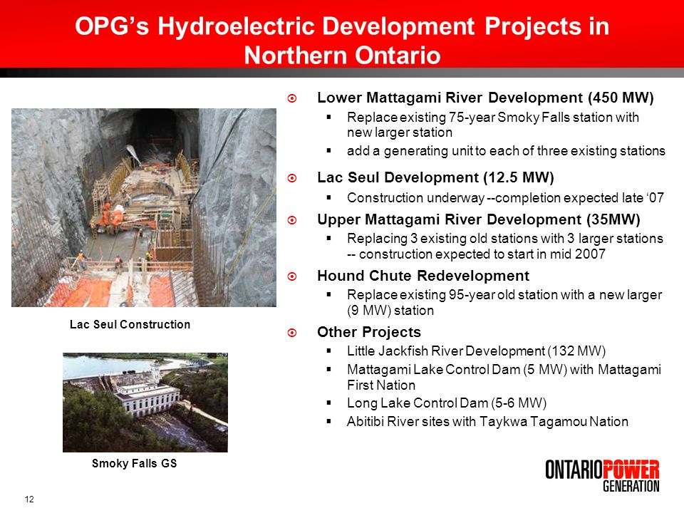 OPG's Hydroelectric Development Projects in Northern Ontario