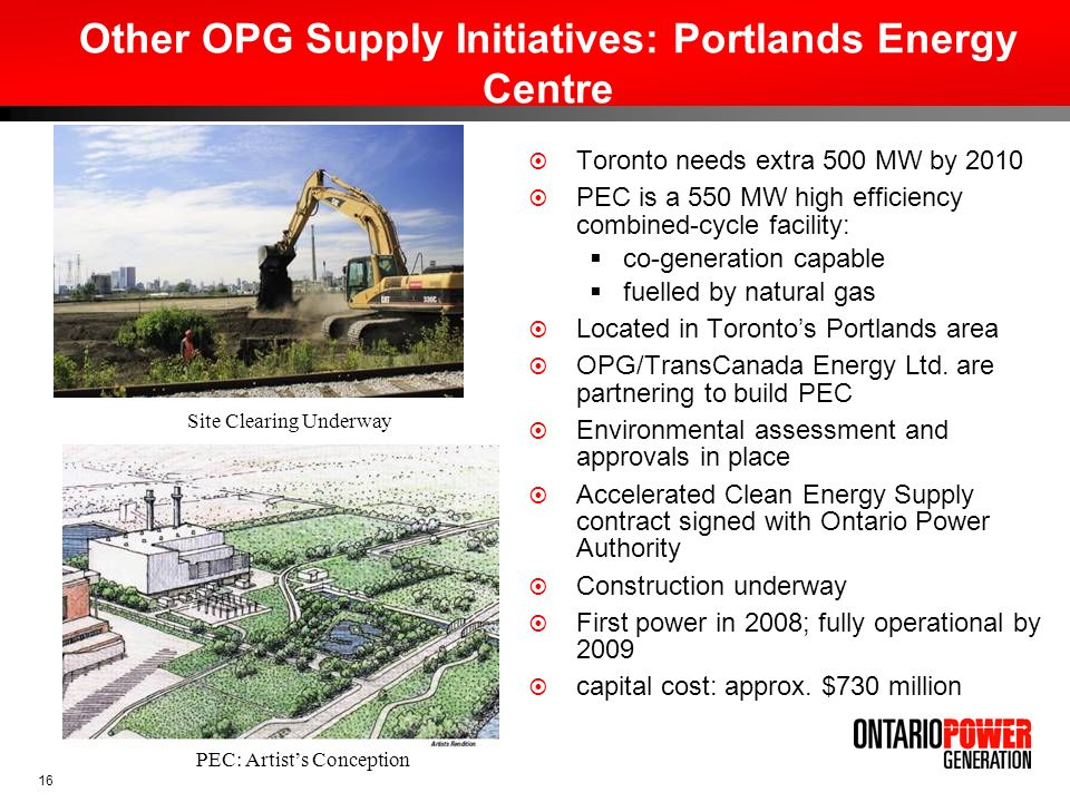 Other OPG Supply Initiatives: Portlands Energy Centre