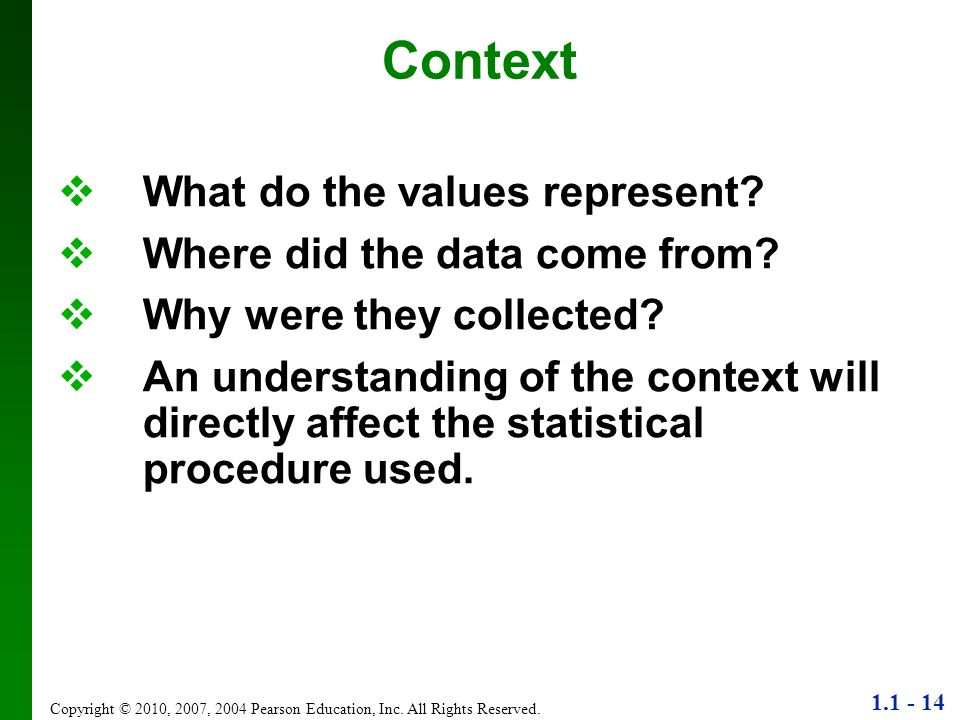 Context What do the values represent Where did the data come from