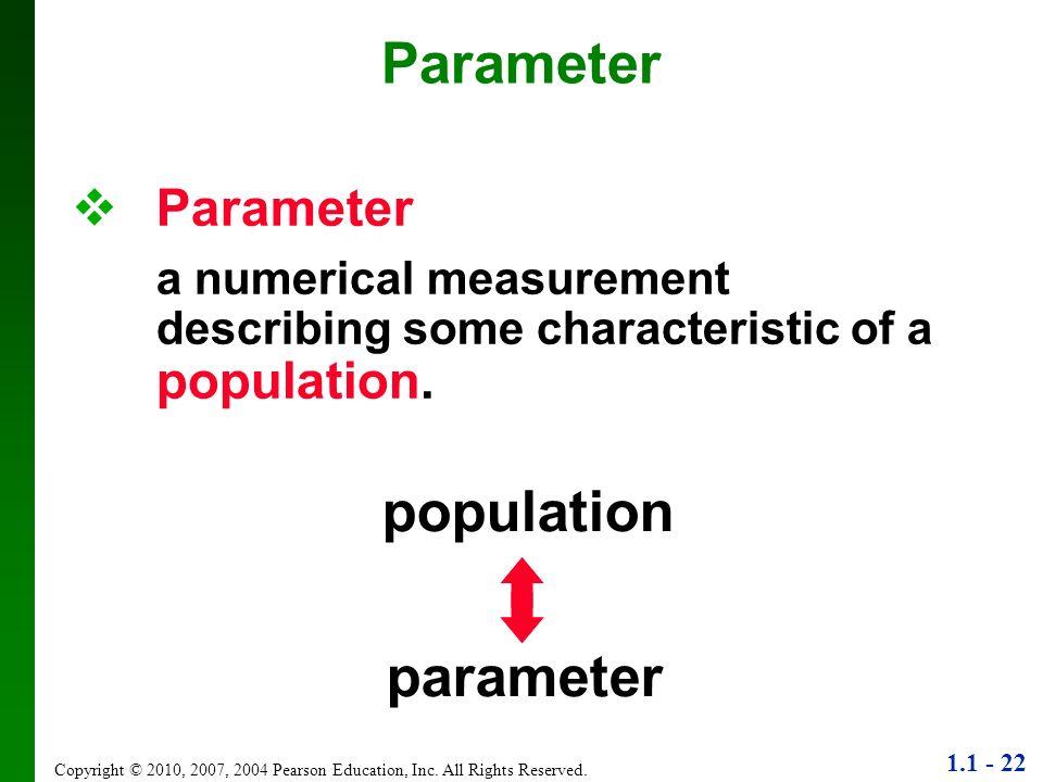 Parameter population parameter Parameter