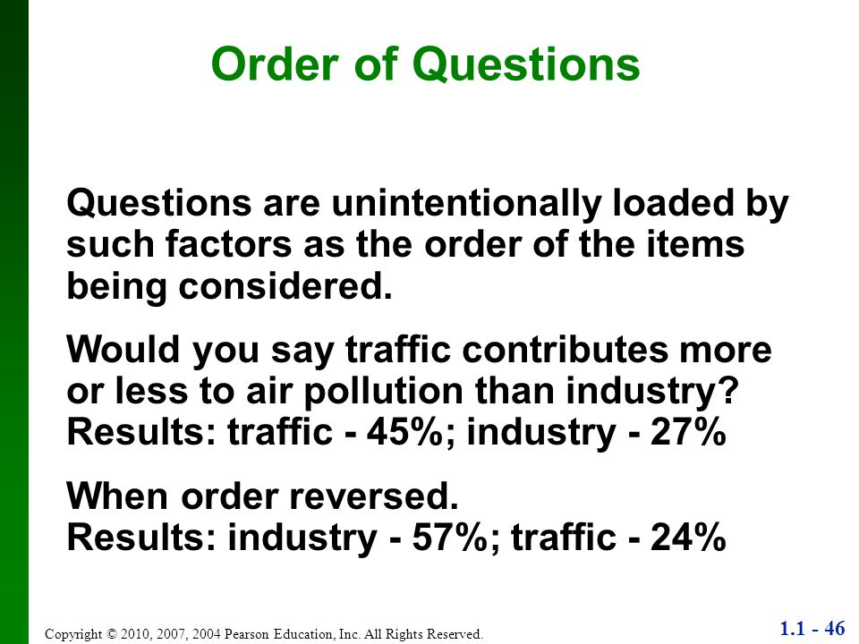 Order of QuestionsQuestions are unintentionally loaded by such factors as the order of the items being considered.