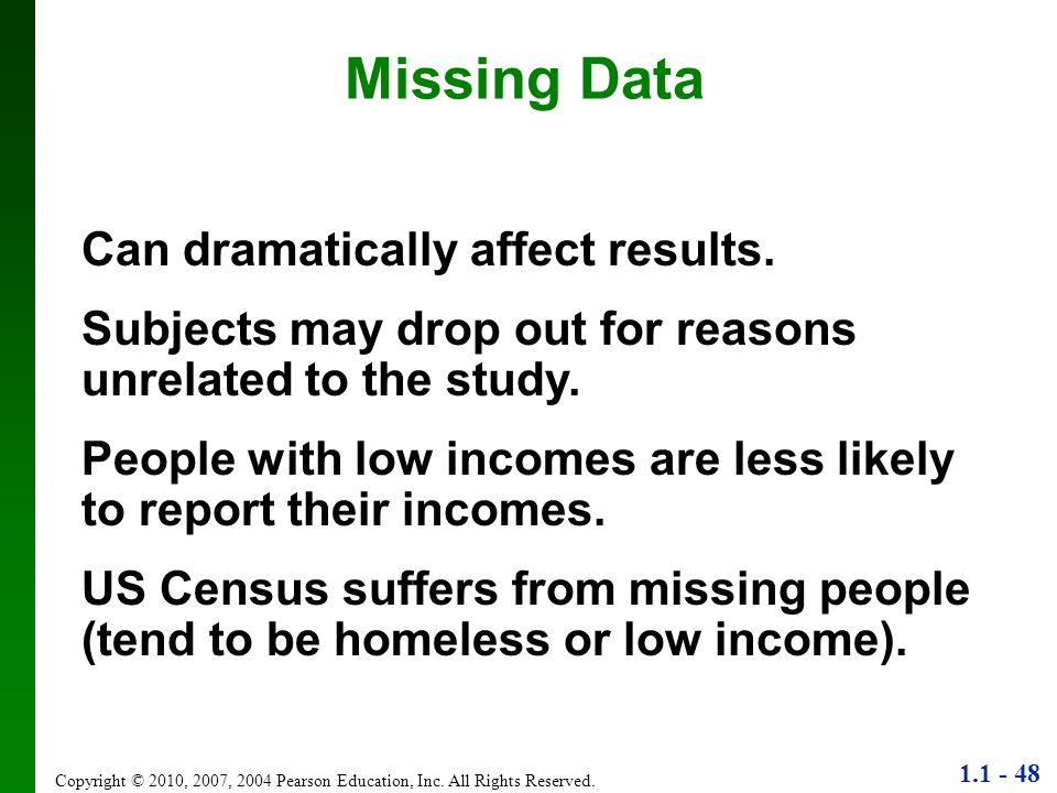 Missing Data Can dramatically affect results.