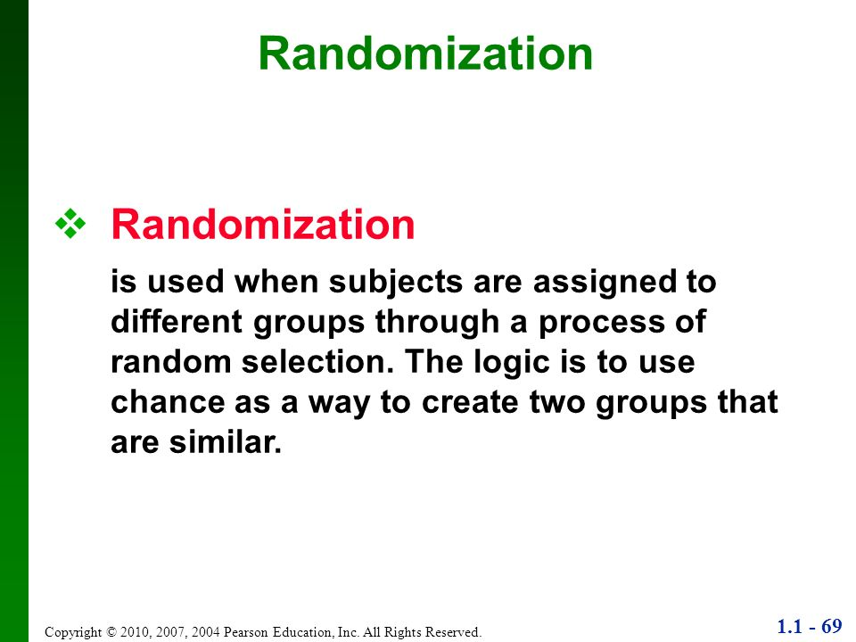Randomization Randomization