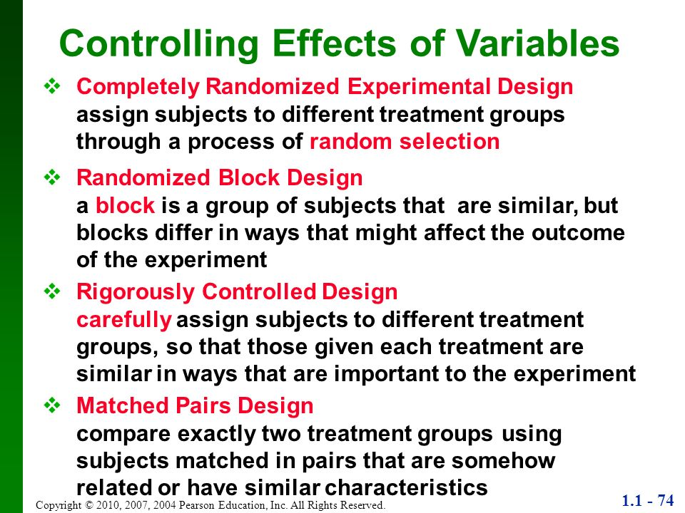 Controlling Effects of Variables