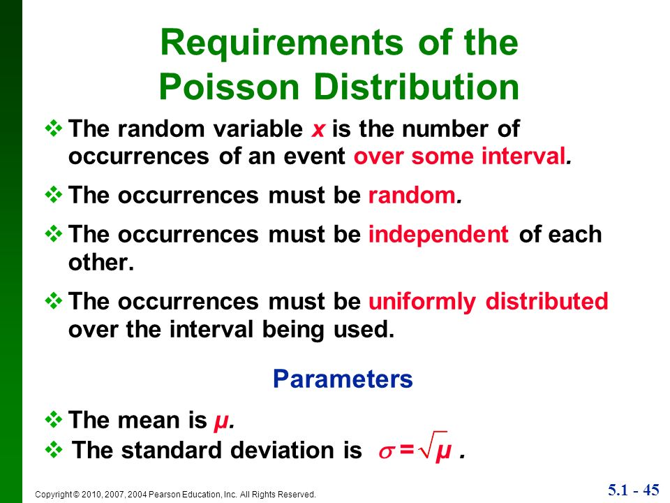 Requirements of the Poisson Distribution
