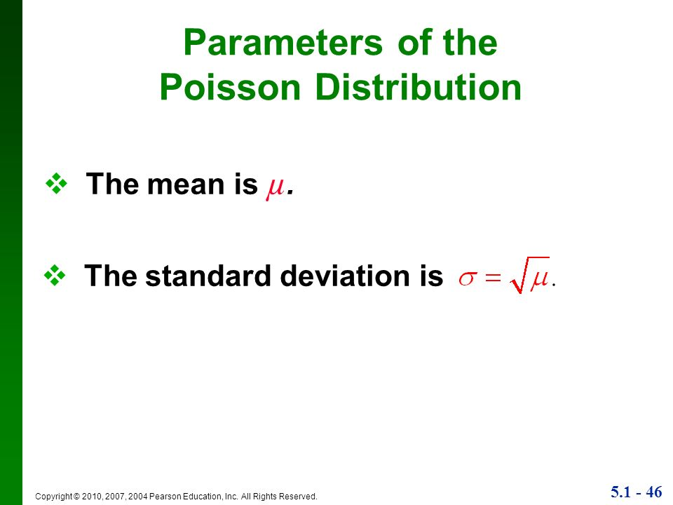 Parameters of the Poisson Distribution
