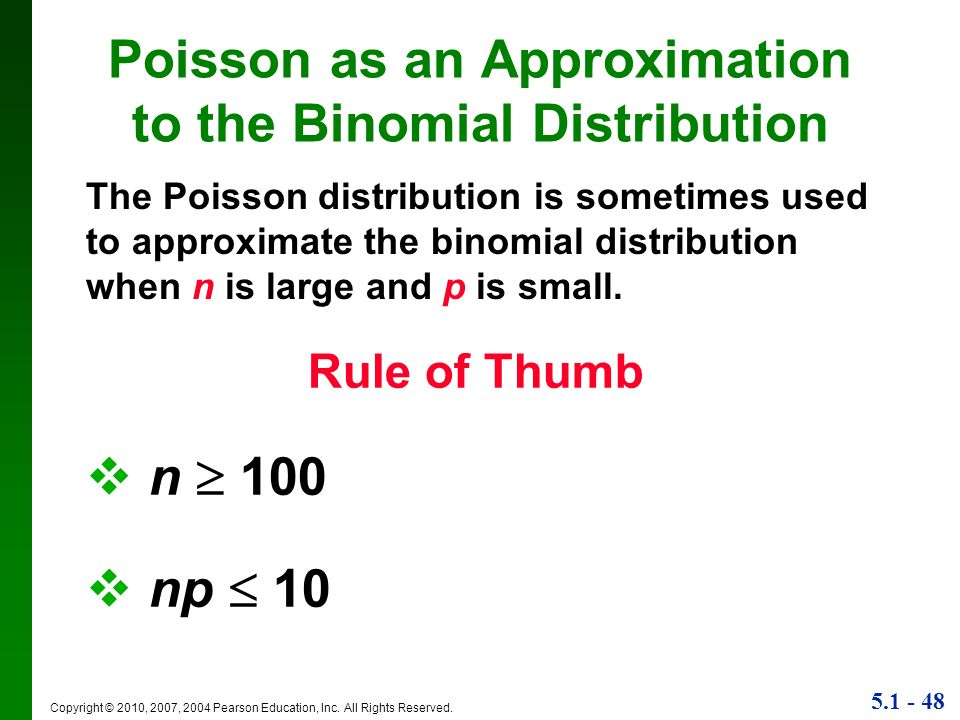 Poisson as an Approximation to the Binomial Distribution
