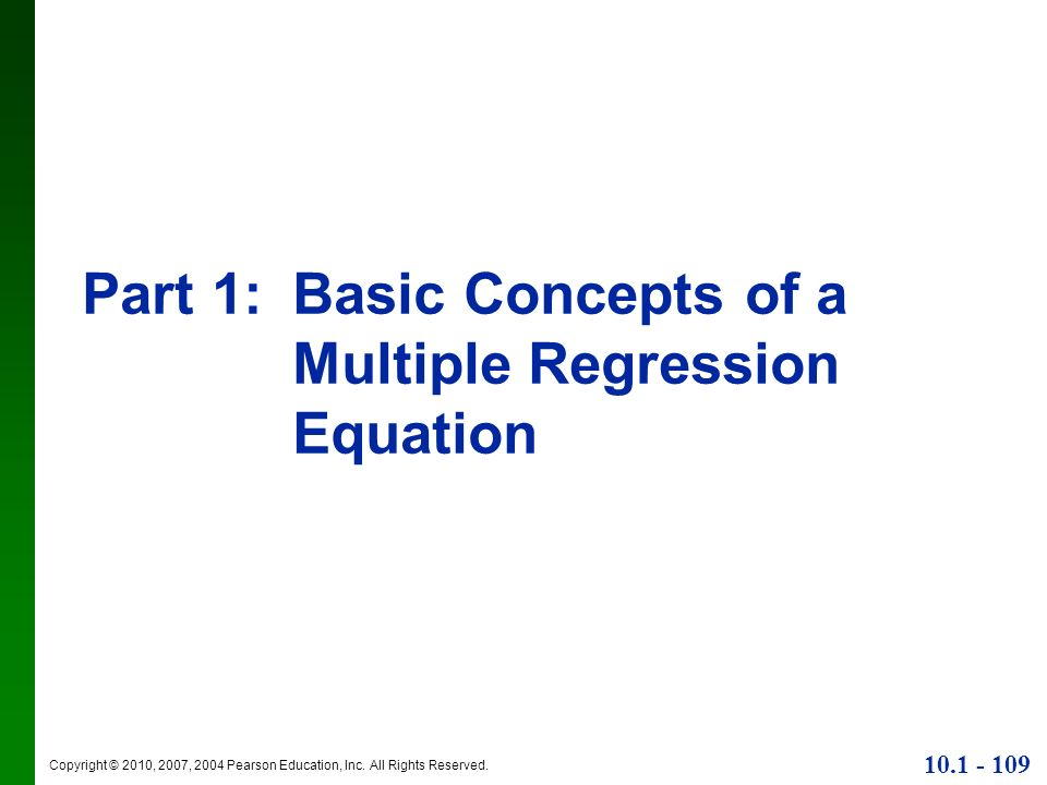Part 1: Basic Concepts of a Multiple Regression Equation