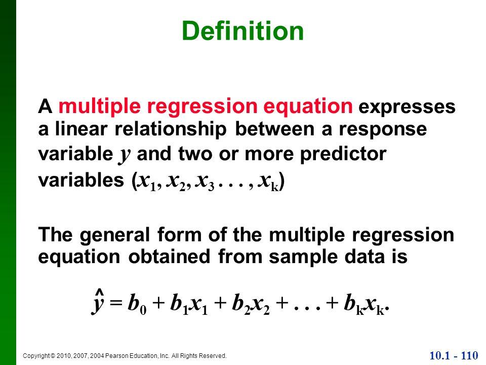 Definition y = b0 + b1x1 + b2x2 + . . . + bkxk.