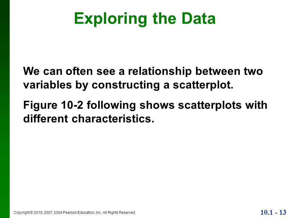 Exploring the DataWe can often see a relationship between two variables by constructing a scatterplot.