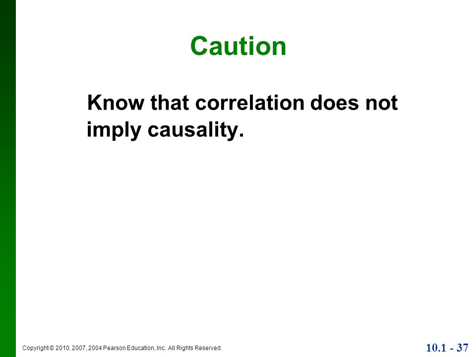 Caution Know that correlation does not imply causality.