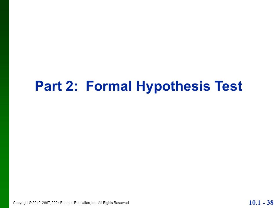Part 2: Formal Hypothesis Test
