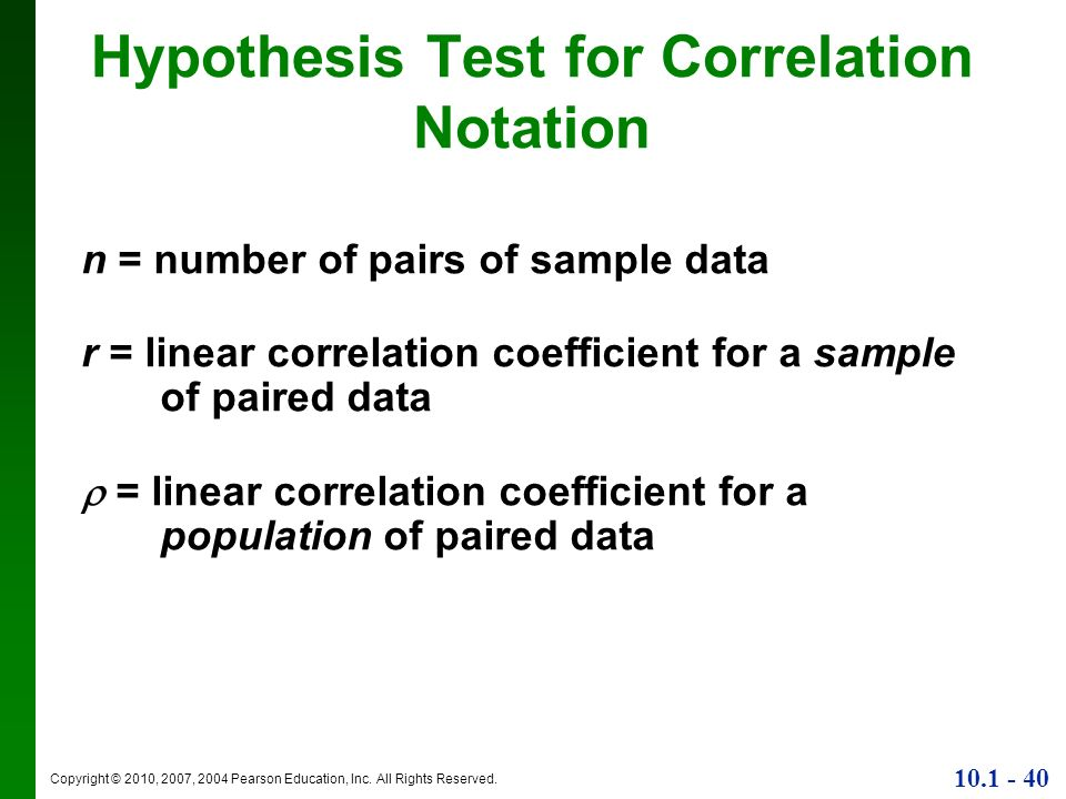 Hypothesis Test for Correlation Notation