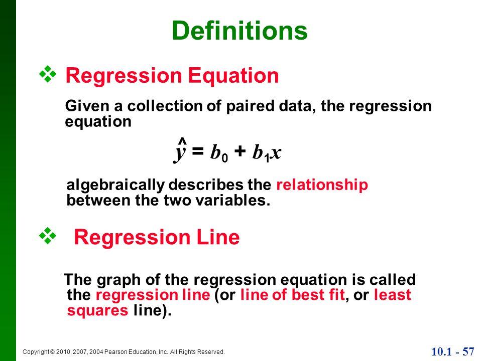 Definitions Regression Equation y = b0 + b1x Regression Line ^