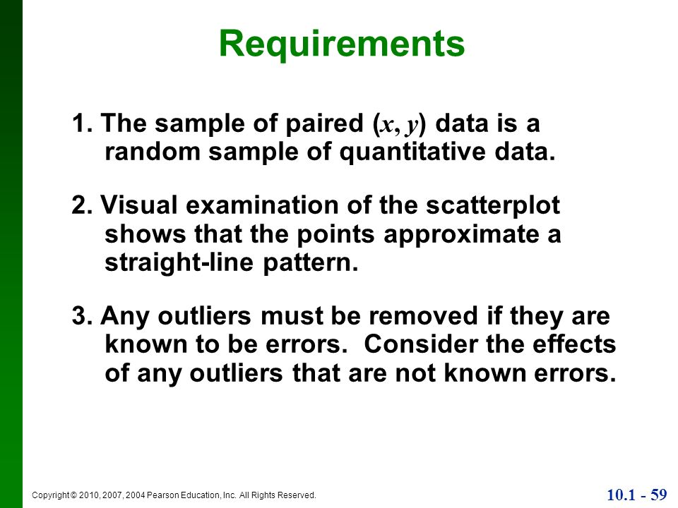 Requirements1. The sample of paired (x, y) data is a random sample of quantitative data.