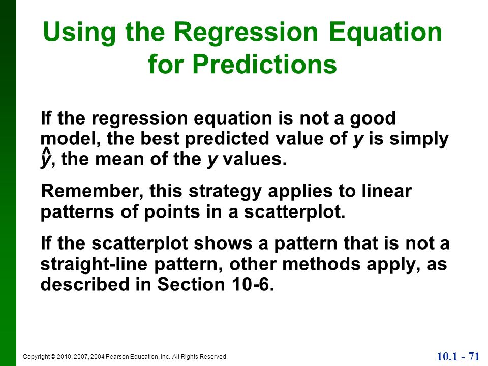 Using the Regression Equation for Predictions