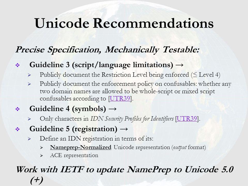 Unicode Recommendations