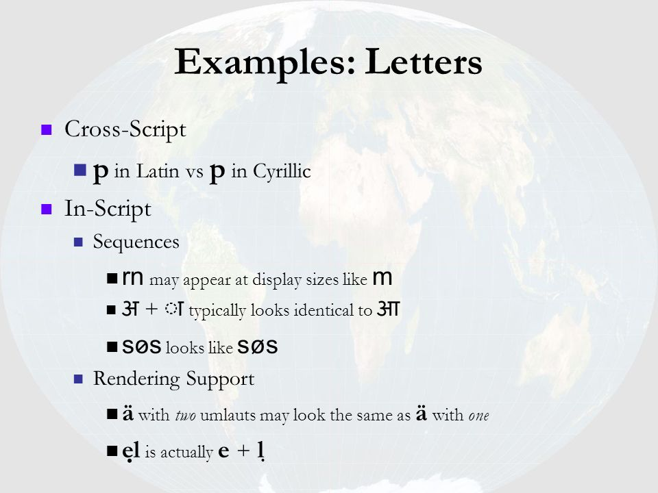 Examples: Letters p in Latin vs p in Cyrillic Cross-Script In-Script