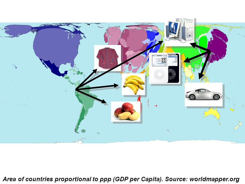 Area of countries proportional to ppp (GDP per Capita)