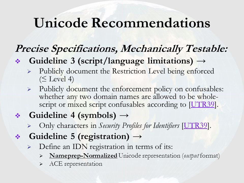 Unicode Recommendations