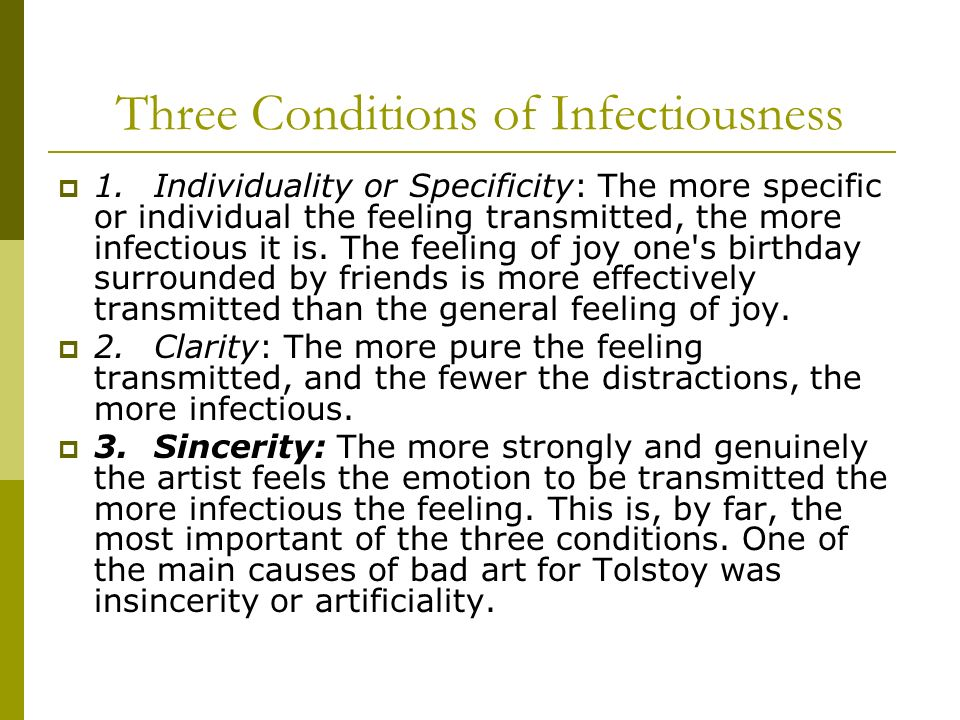 Three Conditions of Infectiousness