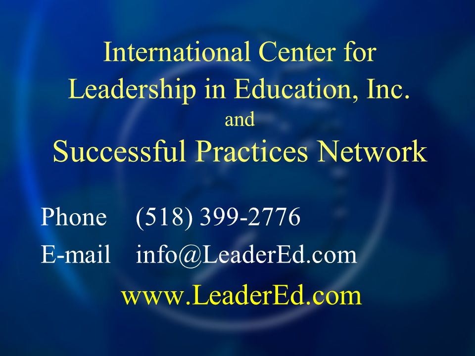 Phone (518) 399-2776 E-mail info@LeaderEd.com www.LeaderEd.com