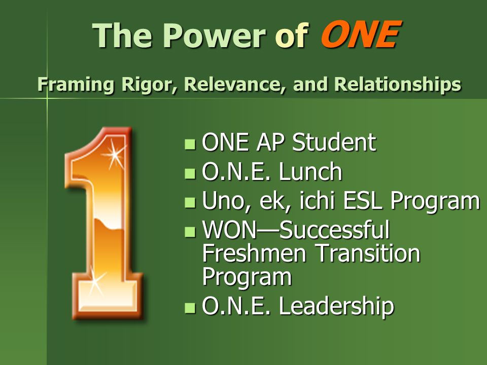 The Power of ONE Framing Rigor, Relevance, and Relationships