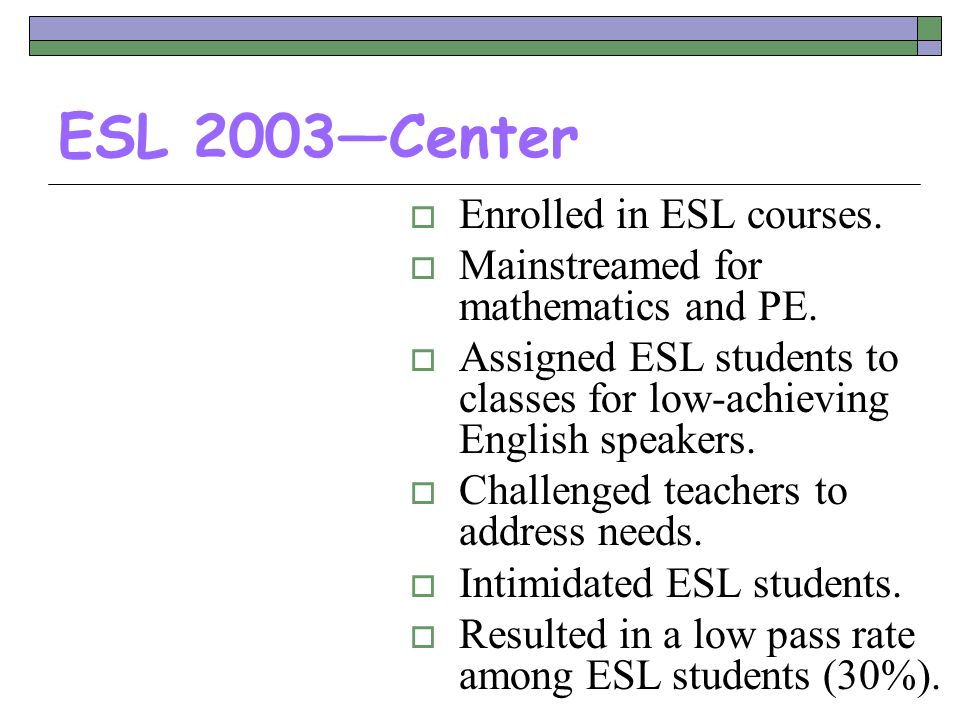 ESL 2003—Center Enrolled in ESL courses.