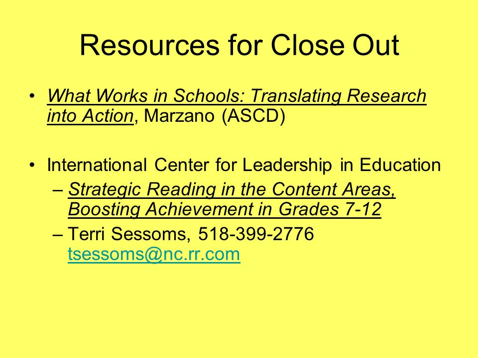 Resources for Close Out