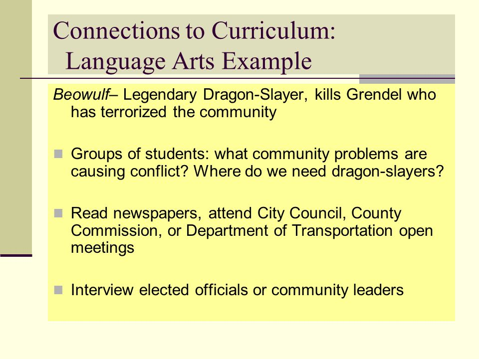 Connections to Curriculum: Language Arts Example