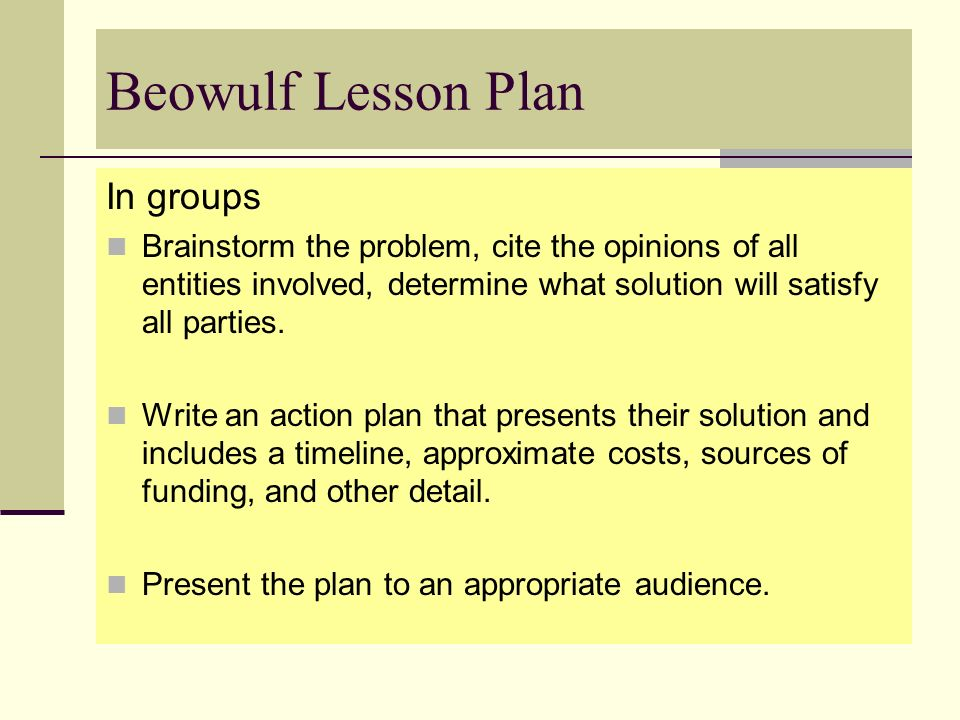 Beowulf Lesson Plan In groups