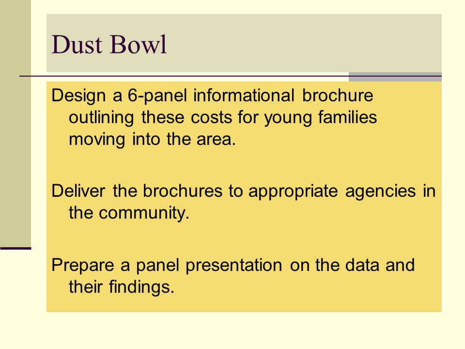 Dust Bowl Design a 6-panel informational brochure outlining these costs for young families moving into the area.
