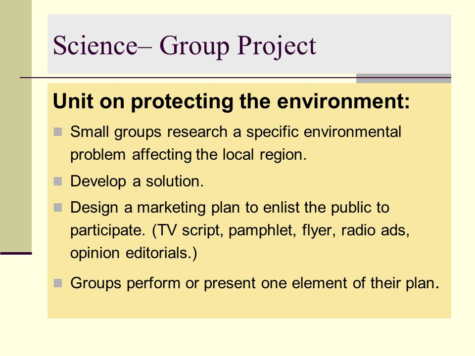 Science– Group Project